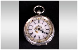 Swiss - Ladies Fine and Ornate Silver Key-wind Open - Faced Engraved Pocket Watch. Marks 93.5. c.