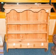 Pine Shelf Unit, 2 Shelves Above 3 Small Short Drawers, Height 40 Inches, 34 Inches Wide By 7.5