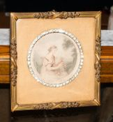 Victorian Brass Framed Print, Frame Stamped A.F, Diamante Circular Design With Angelica Kauffman