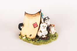 Border Fine Arts Limited Edition and Numbered Comic and Curio Cats Group Figure. By Linda Jane Smith