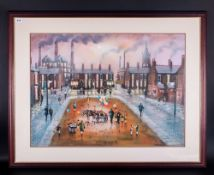 Bernard McMullen 1952 'Salford Street Scene' with mills in background. Pastel Signed. Mounted &