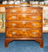 Small Walnut Chest Of Drawers Consisting Of 4 Graduating Drawers Raised On Bracket Feet, Height 28