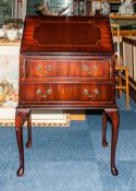 Modern Mahogany Bureau, Fall Front With Fitted Interior Above 2 Long Drawers Raised On Cabriole