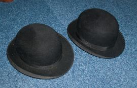 Two Black Bowler Hats In Box, 1. Red Letter Make, 2. Ozonic