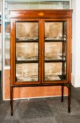 Edwardian Mahogany Display Cabinet In The George III Style inlaid with marquerty and stringing