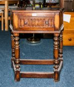 Oak Jacobean Style Side Table With Single Drawer Raised On Turned Legs With Cross Stretchers, Height