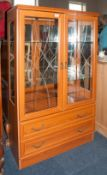 Modern Mahogany Effect Display Unit, Glazed Doors With 2 Glass Shelves Above 2 Long Drawers,  Height