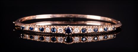 9ct Gold Hinged Bangle The Front Set With Alternating Diamonds And Sapphires, Fully Hallmarked,