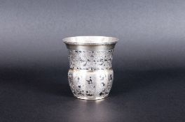Russian Silver Niello Beaker Of Unusual Shaped Form, Finely Engraved Throughout With Floral