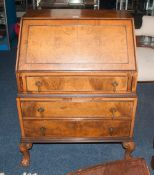 Early 20thC Walnut Bureau, Hinged Slope With Fitted Interior Above 3 Long Graduating Drawers, Raised