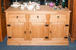 Modern Pine Sideboard, 3 Drawers Above 3 Cupboard Spaces With Single Shelf, Height 31 Inches,