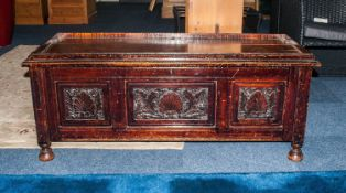 Carved Oak Bedding Box with Three Panels to the Front with Floral Decorations, a Lift Up Lid, With