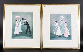 Helen Bradley 1900-1979 Artist Pencil Signed and Limited Edition Pair of Polychrome Colour Prints.