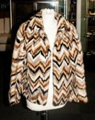Ladies Dyed Mink Jacket, with geometric 'zig-zag' design alternating from black, platinum, blonde,