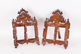 Late 19th/Early 20thC Matched Pair Of Carved Photo Frames Of Shaped Form With Bird And Floral Carved