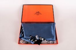 Hermes Paris Blue Silk Zebra Scarf Complete With Original Box