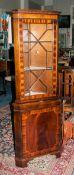 Mahogany Corner Unit Astral Glazed Top With 2 Shelves Above Storage Cupboard Raised On Bracket Feet,