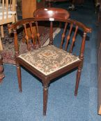 Edwardian Corner Chair Raised On Tapering Turned Legs With Padded Seat