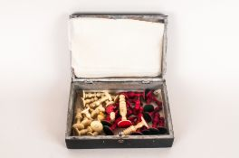 Hinged Box Containing An Anglo Indian Carved Bone Chess Set, Looks To Be Late 19th Early 20thC, King