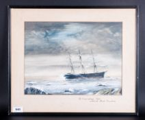 Vincent Auty Signed Watercolour Titled 'The Liverpool Full-Rigger' 'Andola' Wrecked On The