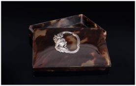 Art Nouveau Tortoiseshell and Applied Silver Topped Lidded Box. 4.75 Inches Wide.