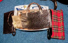Collection of Assorted Handbags including crocodile style leather and 1960's tartan etc