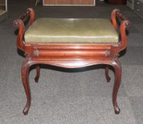 Edwardian Mahogany - Nice Quality Twin Handle Fixed Height Piano Stool, with Green Leather