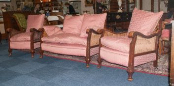 Edwardian English Very Good Quality Three Piece Walnut Carved Bergere Suite standing on shaped