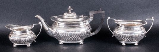 Edward VII Fine Silver Three Piece Tea Service Of Regency Form with half fluted decoration & pie-