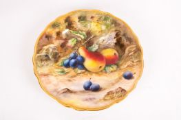 Royal Worcester Hand Painted Cabinet Plate 'Fallen Fruits'. Signed T Lockyer. Date 1922. Diameter