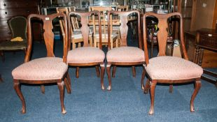 Set Of 4 19thC Mahogany Framed Dining Chairs Of Solid Construction With Padded Seats