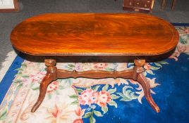 A Late 20th Century Mahogany Coffee Table, Supported by Two Turned Columns with Splayed Feet and