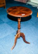 Modern Mahogany Tripod Table, Stylised Floral Decoration To Top, Height 25 Inches