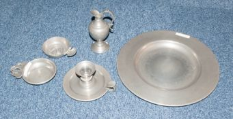 A Quantity Of Pewter To Include A Plate , A Lidded Tureen Both Stamped Etains Du Dauphin France, A