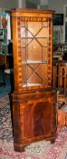 Mahogany Corner Unit Astral Glazed Top With 2 Shelves Above Storage Cupboard Raised On Bracket Feet,