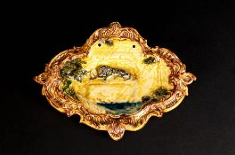 WITHDRAWNBarovier Clear Glass Rabbit Figure with profuse gold leaf design. 5'' in height.