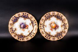 Royal Worcester Pair Of Handpainted And Signed Cabinet Plates By Richard Sebright 'Fallen Fruits'