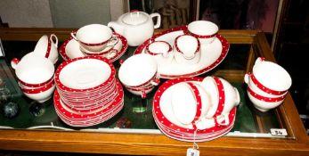 44 Piece Midwinter Red Domino Pattern Dinner Service, stylecraft shape 1950's designed by Jessie