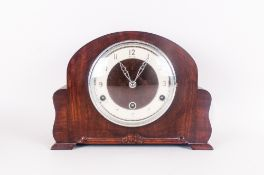 Bentic Wooden Cased Mantle Clock, silvered chapter ring with Arabic numerals, 11.5'' in width. 8.5''