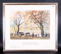 Helen Bradley Colour Print, Titled 'Waiting For Grandpa' framed behind glass 15x11''