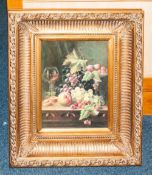 Framed Print Depicting Still Life Fruit On Table In Broad Gilt Frame, The Whole 26x22 Inches