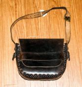 An Early 20th Century Good Quality Handmade & Braided Leather Satchel Overall good condition. Used