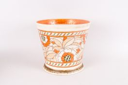 Charlotte Rhead Signed Crown Ducal Jardiniere Circa 1930's 'Tudor Rose' Pattern Number 4491. Lustred