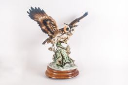 Capo Di Monte Figure Of  A Barn Owl Perched On A Branch. Wings Extended. 16'' in height, 17'' in