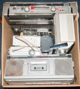Large Box Containing A Quantity Of Transistor Radios Comprising Bush Nightingale, Aiwa Stereo 2-