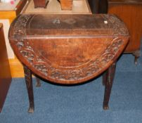 Carved Oak Drop Leaf Table