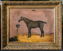 withdrawn 19th Century Oil Painting on Canvas of a Grey Racehorse In a Stable Setting, Named