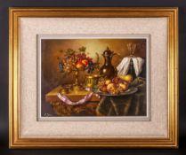 Elia Josza Hungarian Artist Born 1920's ' Stillife ' Study of Fruit In a Tazza and Plate, Flagon -