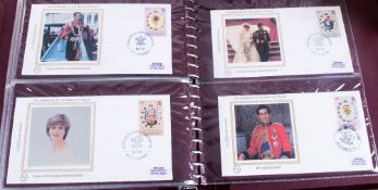 Boxed Benham Silk Cover Album with covers from around the world celebrating the marriage of Prince