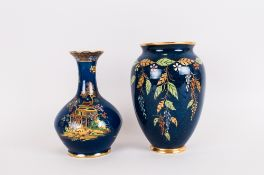 Carlton Ware Vases ( 2 ) In Total. 1/ Mikado Pattern on Blue Ground. 6.75 Inches High. 2/ Leaf